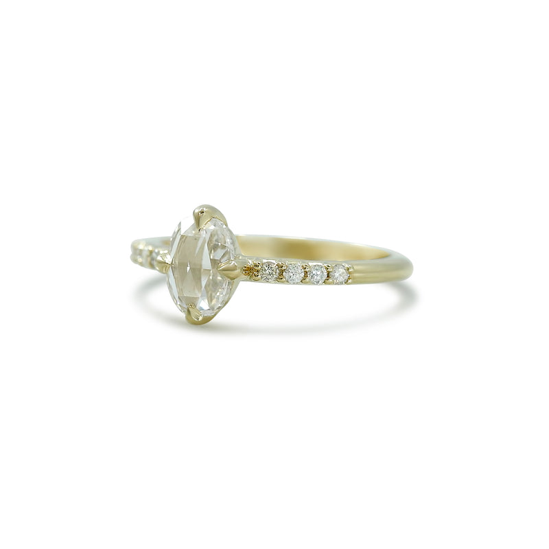 oval rose cut diamond engagement ring north south east west set with yellow gold band