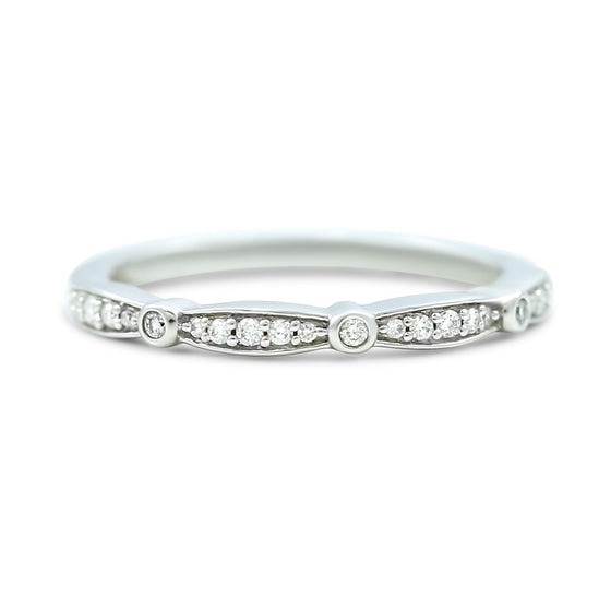 14k white yellow or rose gold 1/8tcw round diamond station wedding band antique style ring