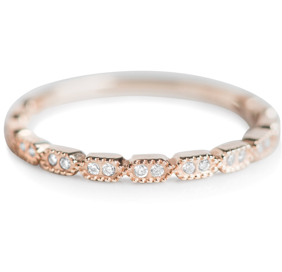 ROSE GOLD DIAMOND ANNIVERSARY BAND WITH MILGRAIN DETAILS