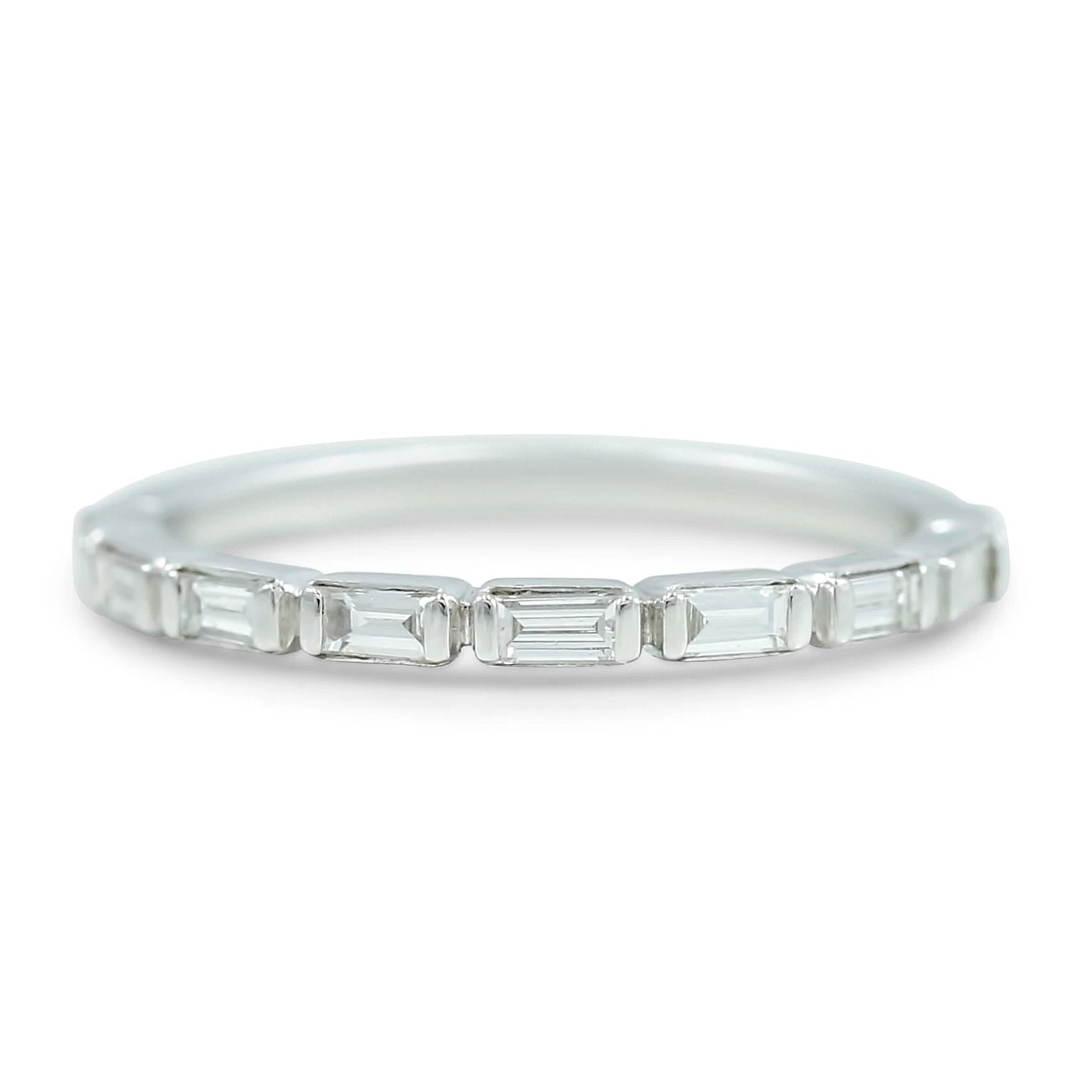 1/4tcw baguette diamond wedding band 14k white gold
