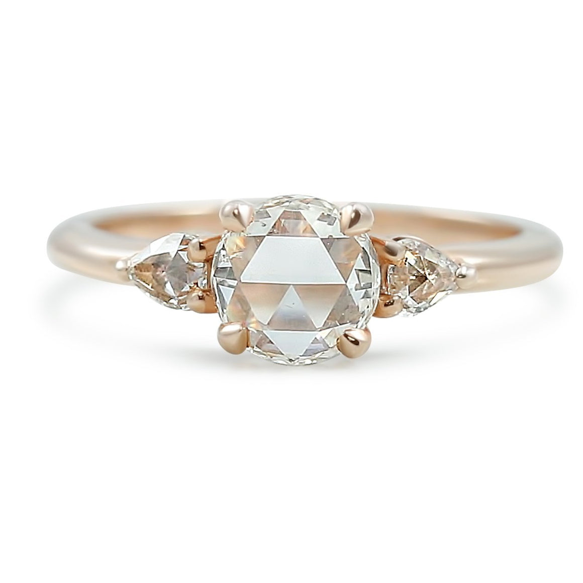 rose cut rose gold three stone diamond engagement ring with thin band ready to ship