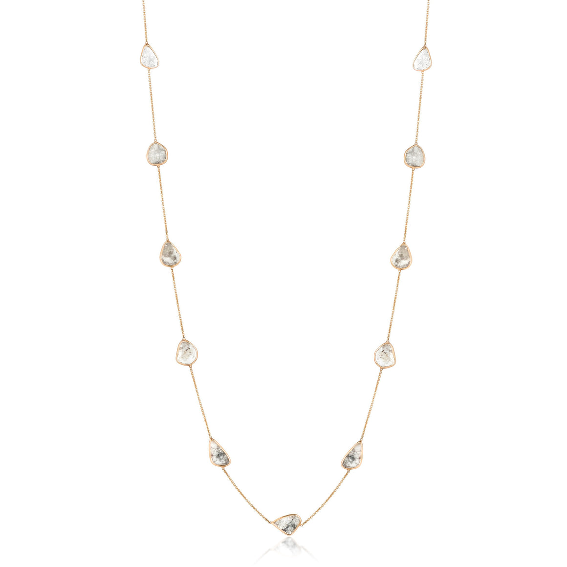 GRAY DIAMOND SLICES SET IN A YELLOW GOLD CHAIN NECKLACE