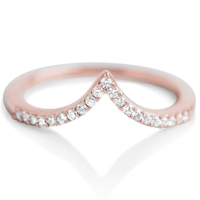 V shaped diamond ring with rose gold band