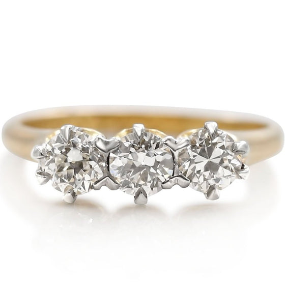 old European cut diamond engagement with yellow gold