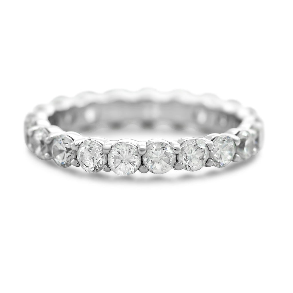 3.0mm diamond eternity wedding band with 2.0tcw of white diamonds available in platinum, or 14k white, yellow or rose gold