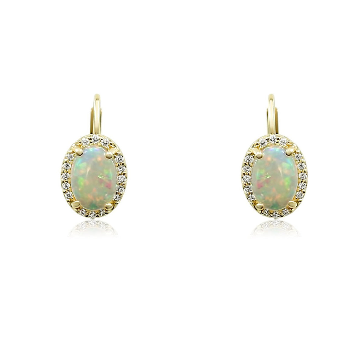 opal prong set cabochon lever back yellow gold earrings with a white diamond halo