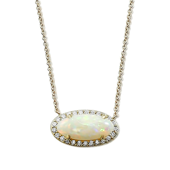 oval opal prong set necklace set east west with a yellow gold chain and white diamond halo