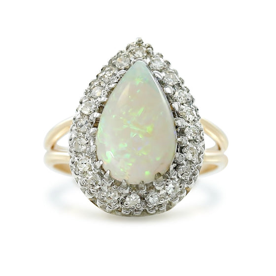 14k yellow and white gold pear shaped opal and diamond ring