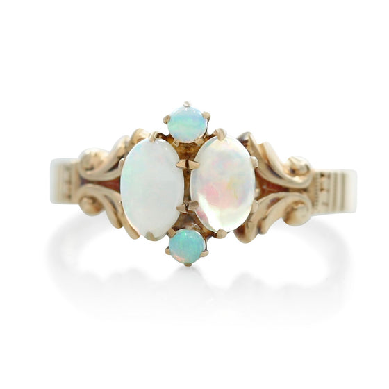 opal gemstone and yellow gold victorian estate ring