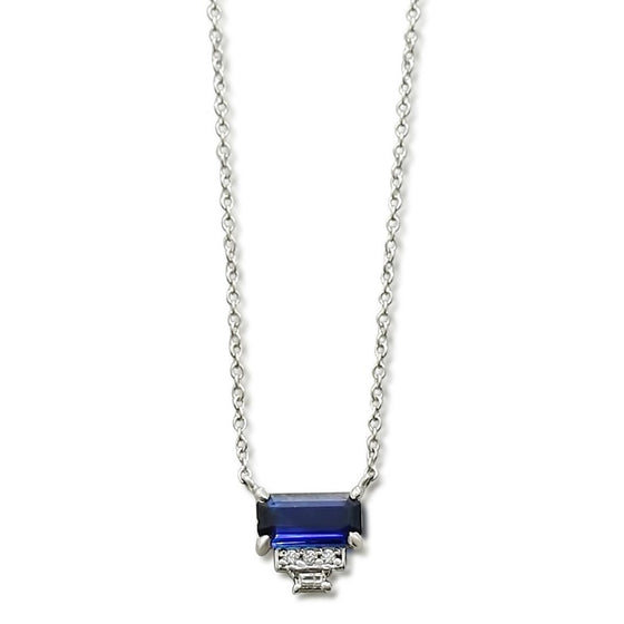 emerald cut sapphire necklace with round and baguette white diamonds and a white gold chain