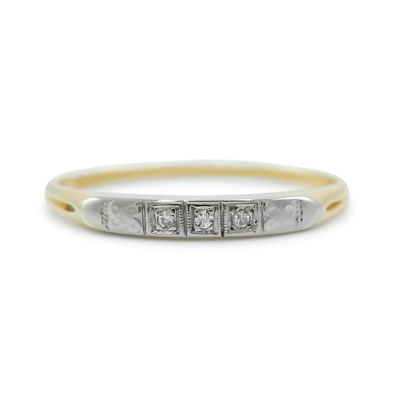 14k yellow and white gold estate diamond wedding band created circa
