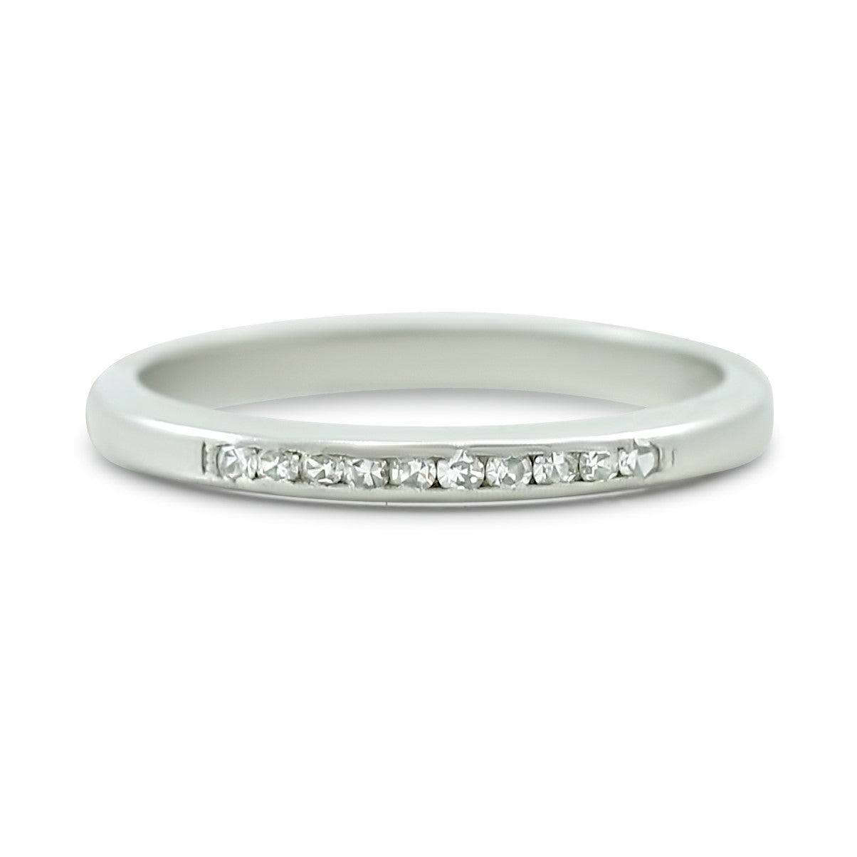 platinum estate wedding band with single cut diamonds created circa 1920