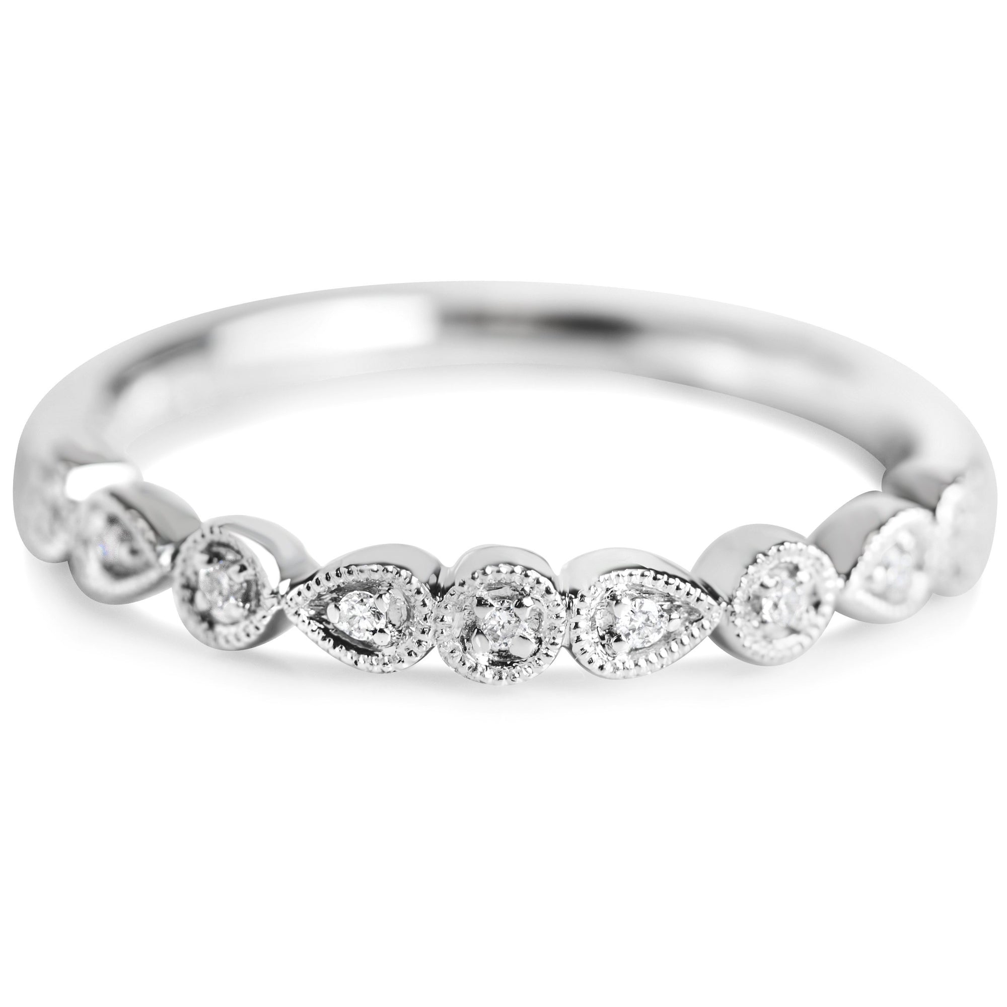 white gold diamond wedding band or stack ring with milgrain details