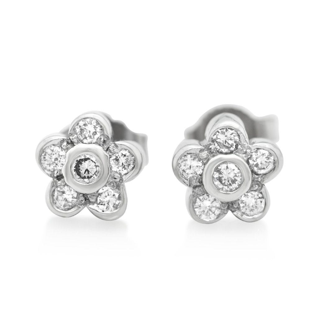 flower estate stud earrings with white gold and diamonds