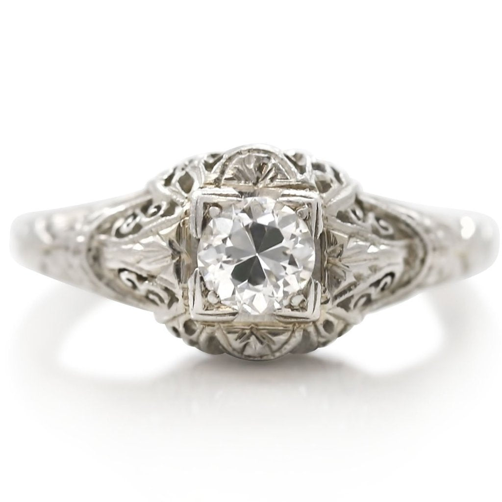 estate diamond engagement ring diamond with geometric inspired details