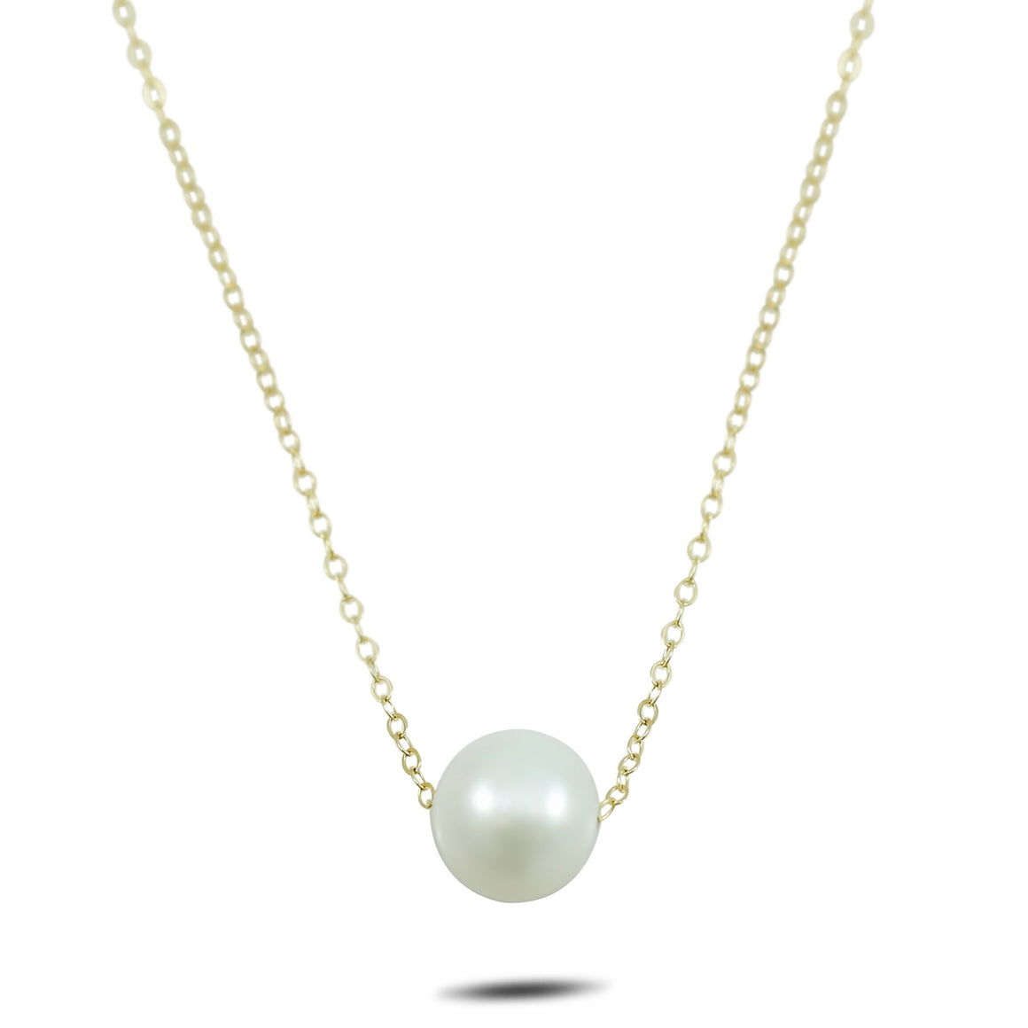 10mm pearl necklace 14k yellow gold 17in chain