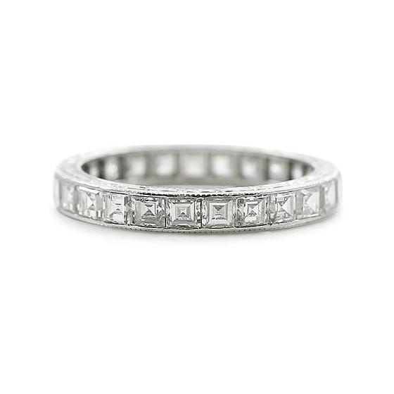 diamond eternity estate wedding band stackable wedding ring carre cut diamonds