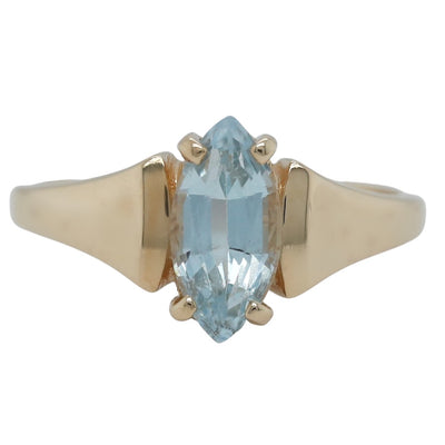 14k yellow gold marquise shaped blue topaz estate ring
