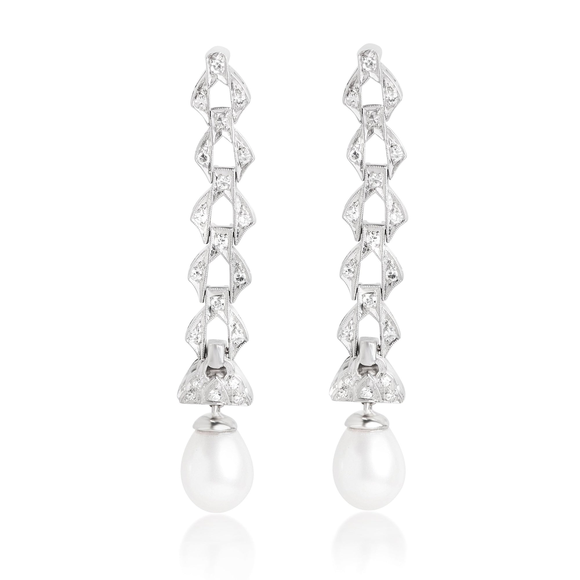 ESTATE PEARL AND DIAMOND EARRINGS WITH PLATINUM