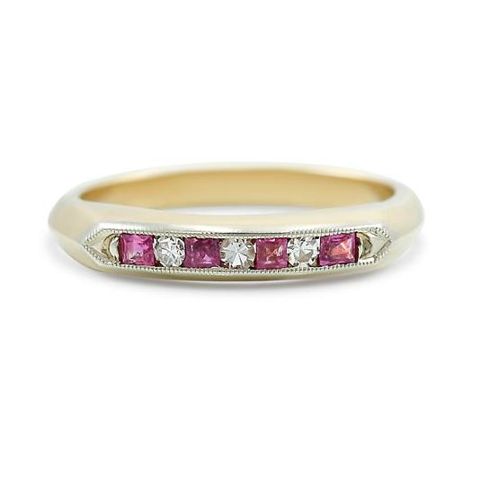 ruby and diamond channel set estate wedding band 14k yellow gold