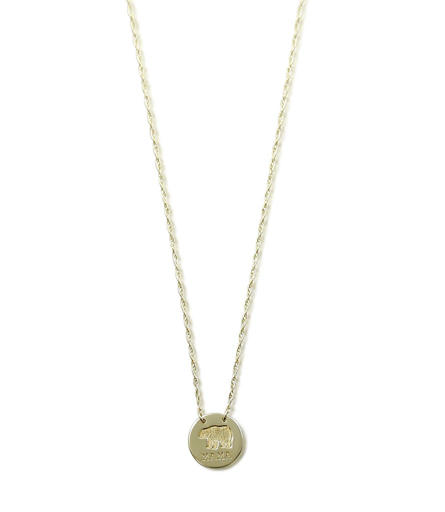14k yellow gold mama bear stamped disk adjustable necklace 16-18in chain