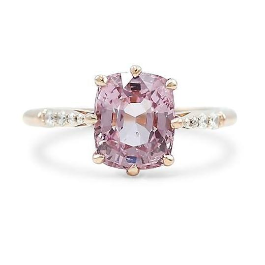 cushion cut pink spinel and diamond ring with rose gold band antique style setting