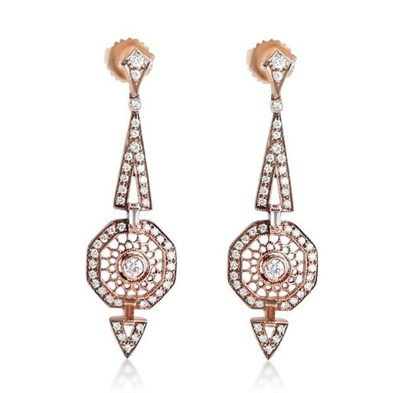 Yellow Gold and Diamond Statement Estate Earrings