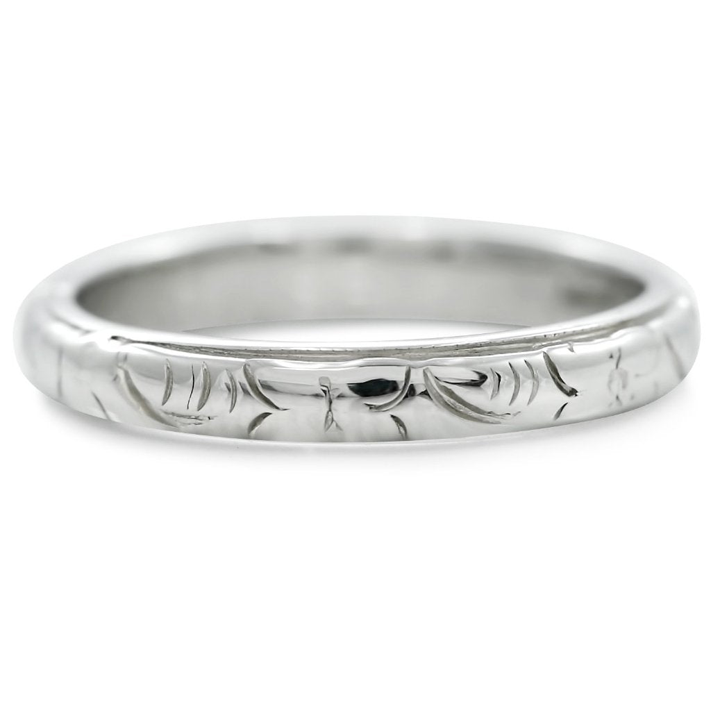 hand engraved antique white gold wedding band