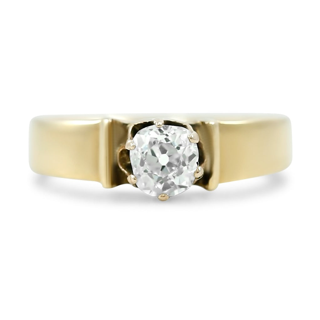 victorian old mine cut diamond ring with a chunky yellow gold band created circa 1880