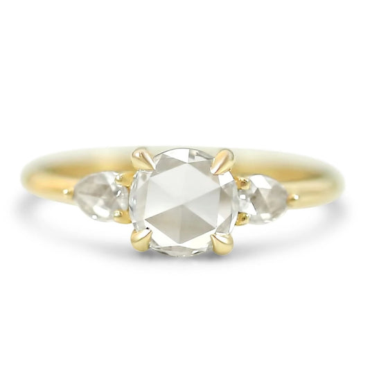 14k yellow gold rose cut round diamond engagement ring with rose cut pear side stones prong set