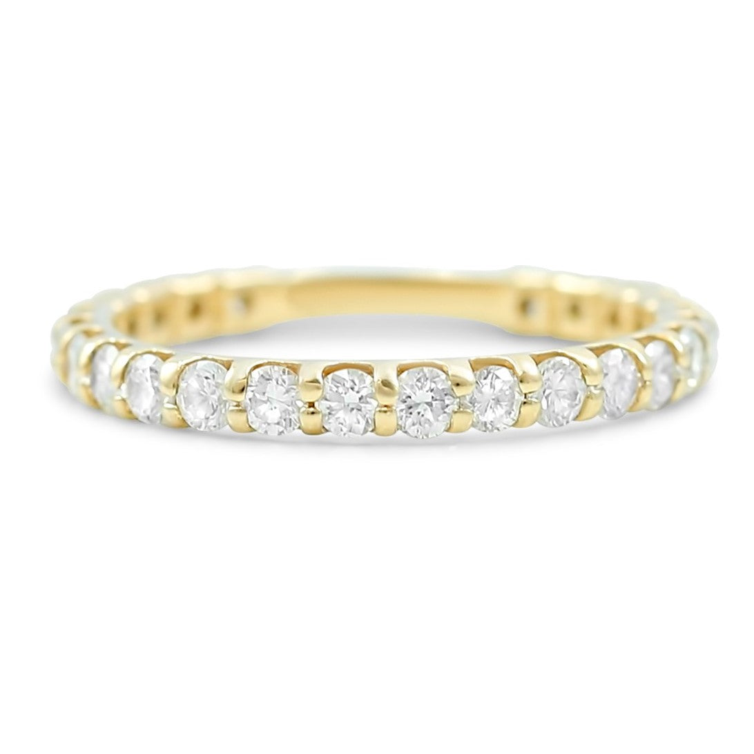 14k yellow white or rose gold  diamond wedding band with round diamonds totaling 1.01ct that go 3/4 of the way around the ring
