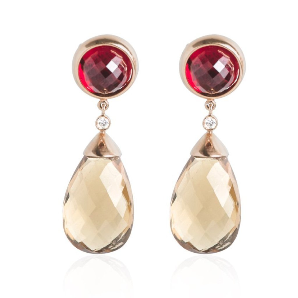 estate red gem diamond and smoky quartz drop earrings with yellow gold