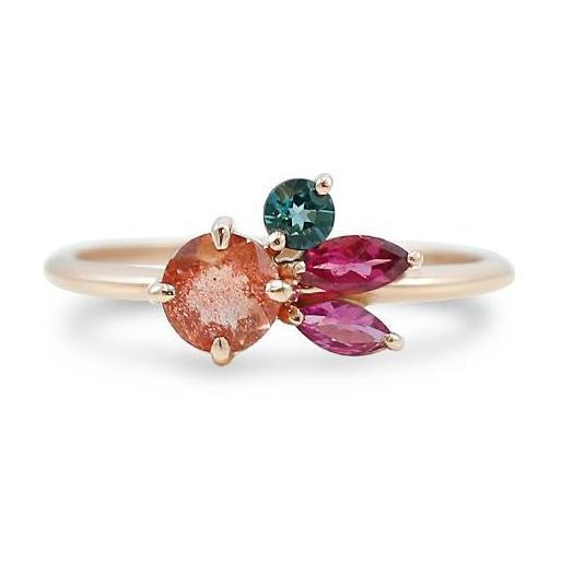 gorgeous rose gold cluster ring with Oregon sunstone, blue tourmaline and pink tourmaline gemstones