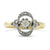 18k yellow gold and platinum antique ring with old mine cut diamond center stone and intricate diamond halo made c.1900