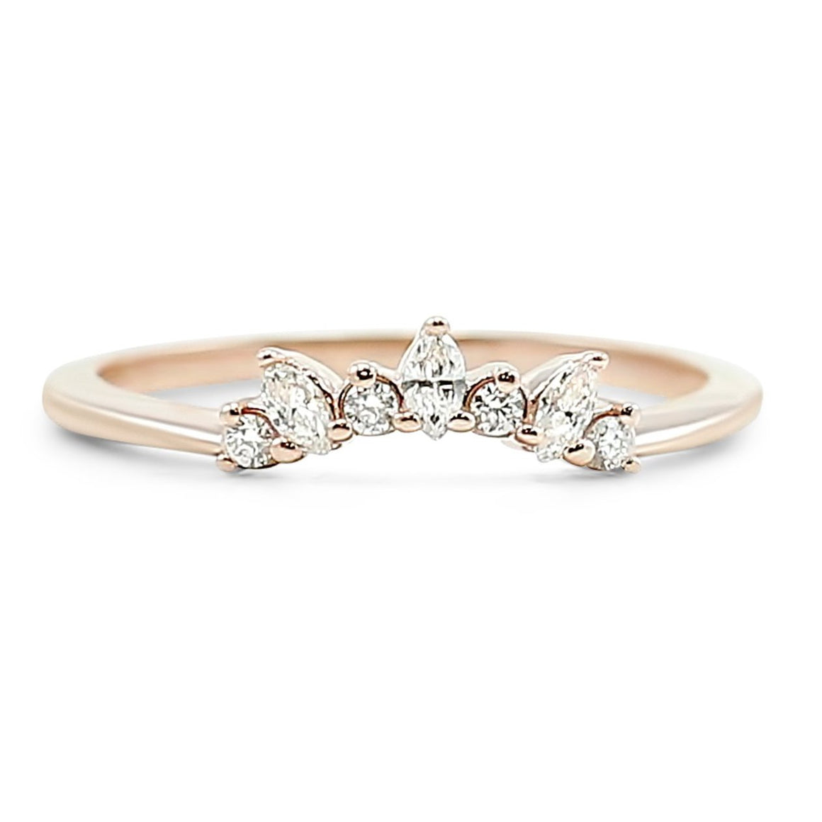 marquis and round diamond contour wedding band available in yellow rose and white gold