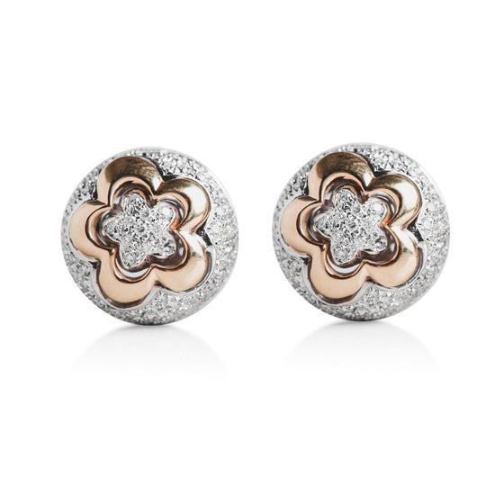 diamond Italian estate flower stud earrings with yellow and white gold