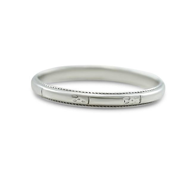 HAND ENGRAVED PLATINUM WEDDING BAND 2.0MM WIDE