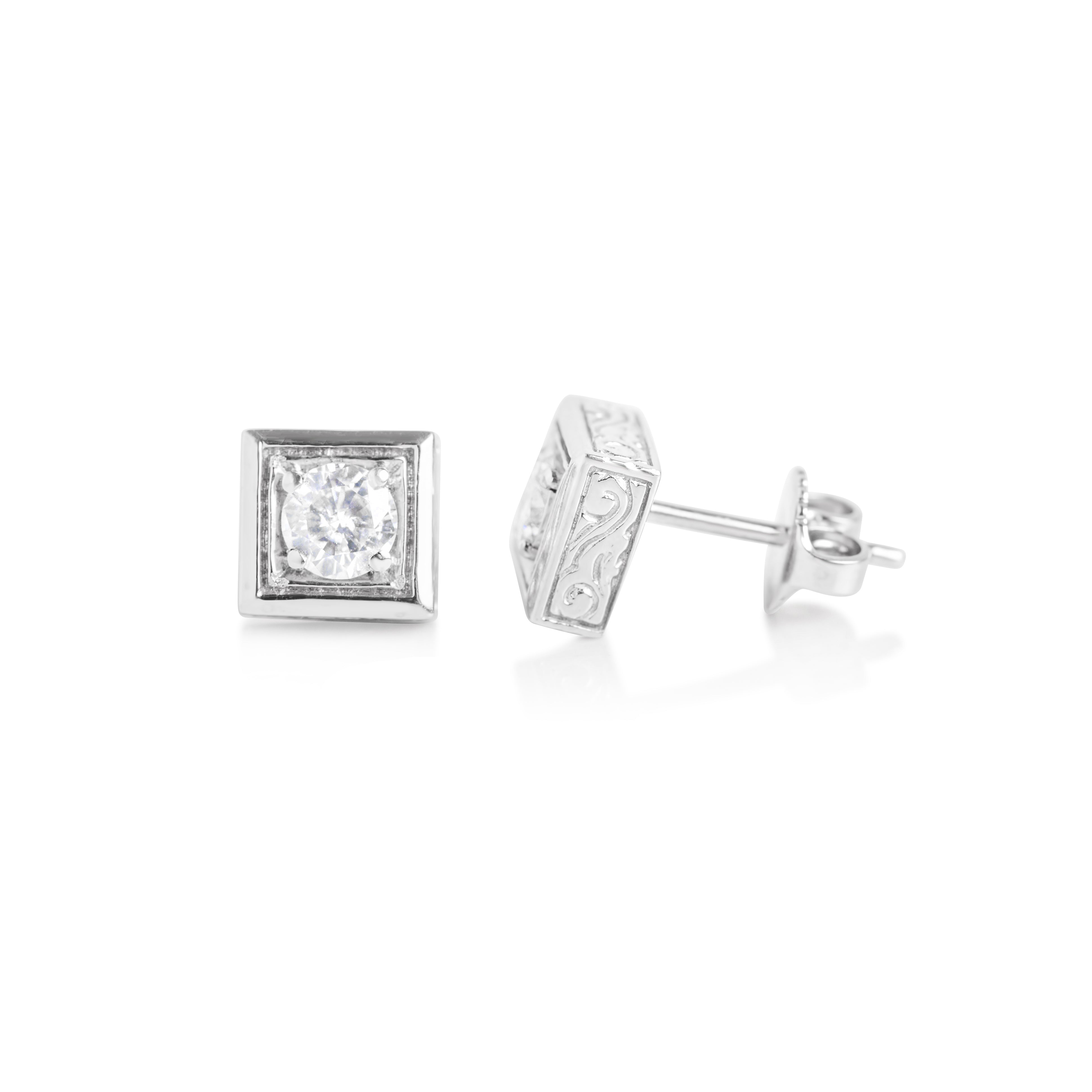 diamond square p stud pave colour carat gold set earrings
