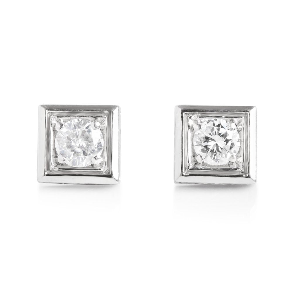 estate round diamond earrings set in white gold squares