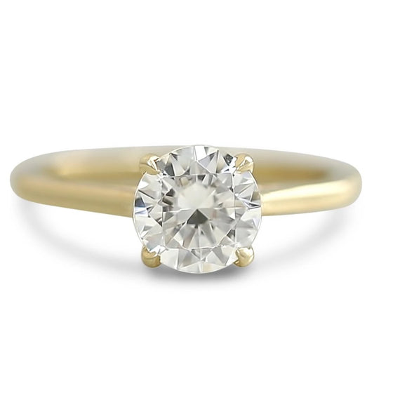 ready to ship diamond engagement ring prong set center stone and hidden diamonds on the rail in a cathedral setting. available in 14k yellow, white, rose or peach gold and platinum