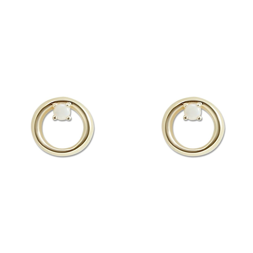 2.0mm yellow gold opal stud earrings