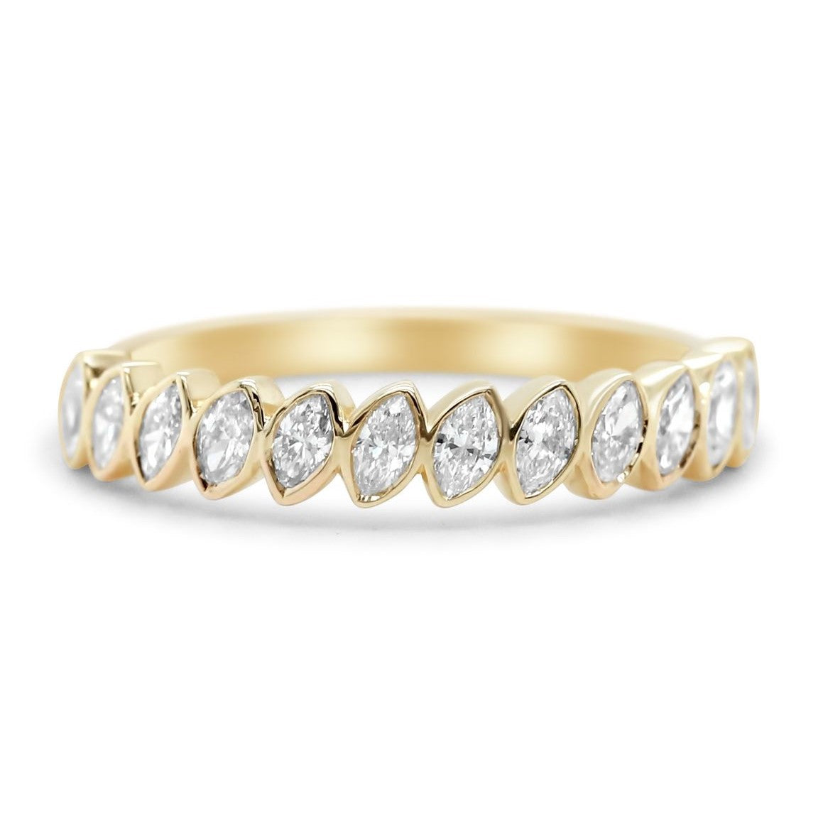 14k yellow, white or rose gold slanted marquise bezel set diamond wedding band