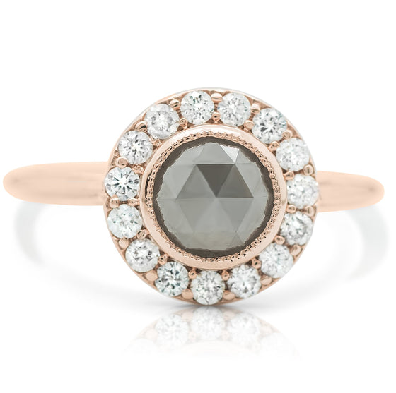 Gray and white diamond right hand ring with rose gold band