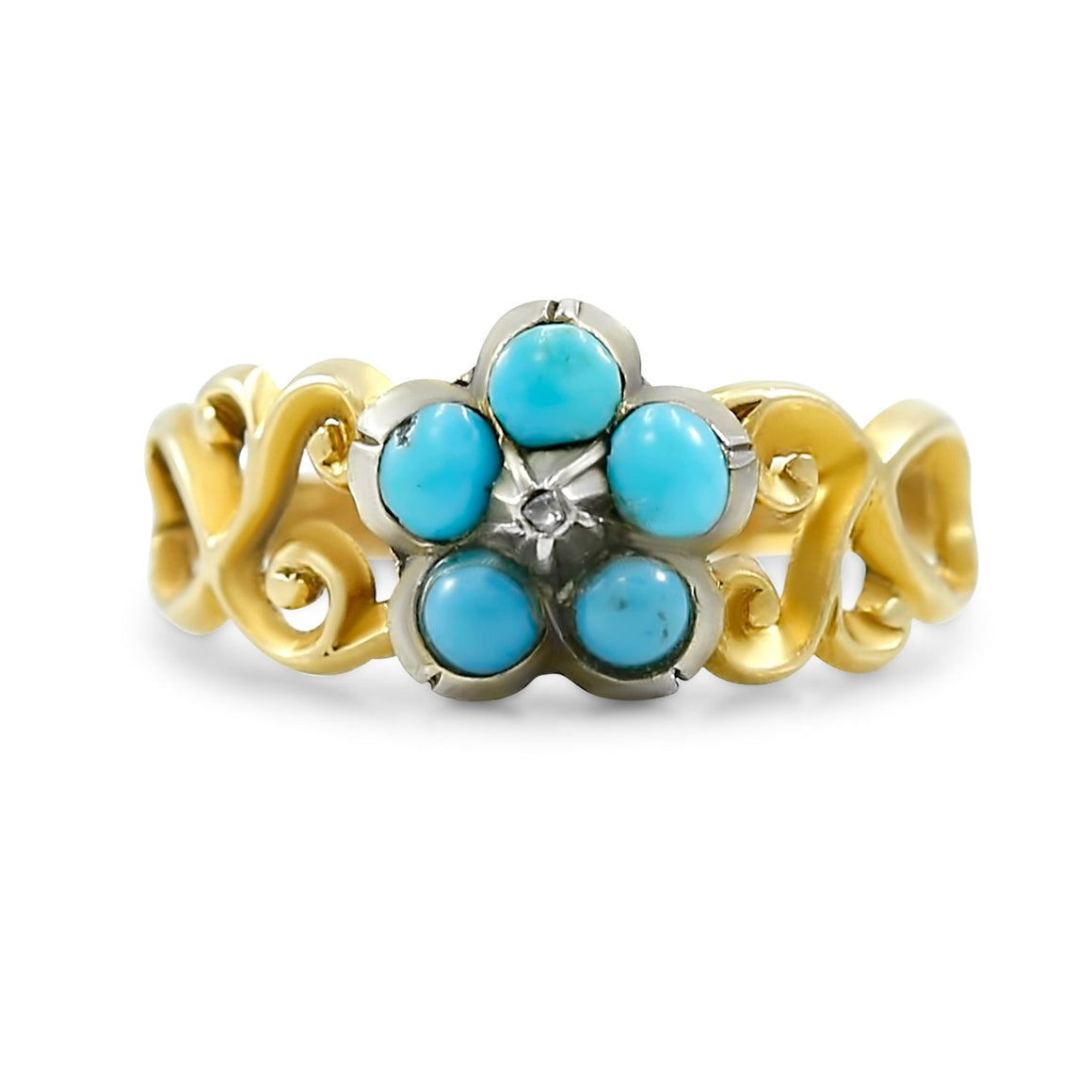 18k yellow gold turquoise antique ring created circa 1870 victorian ring