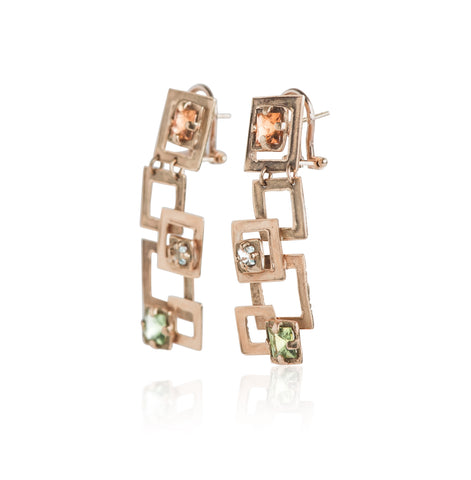 Estate geometric inspired yellow gold earrings with citrine, blue topaz, and peridot gemstones
