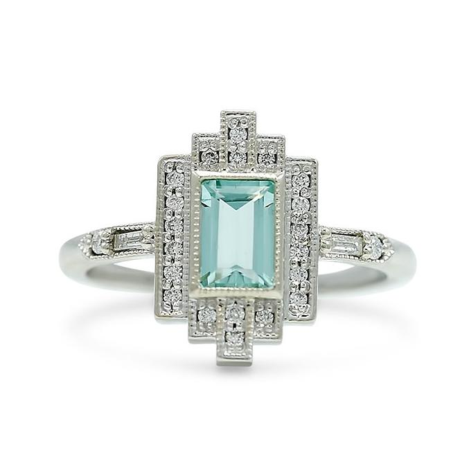 mint beryl Art Deco inspired ring with white diamonds and a white gold band geometric line and milgrain details