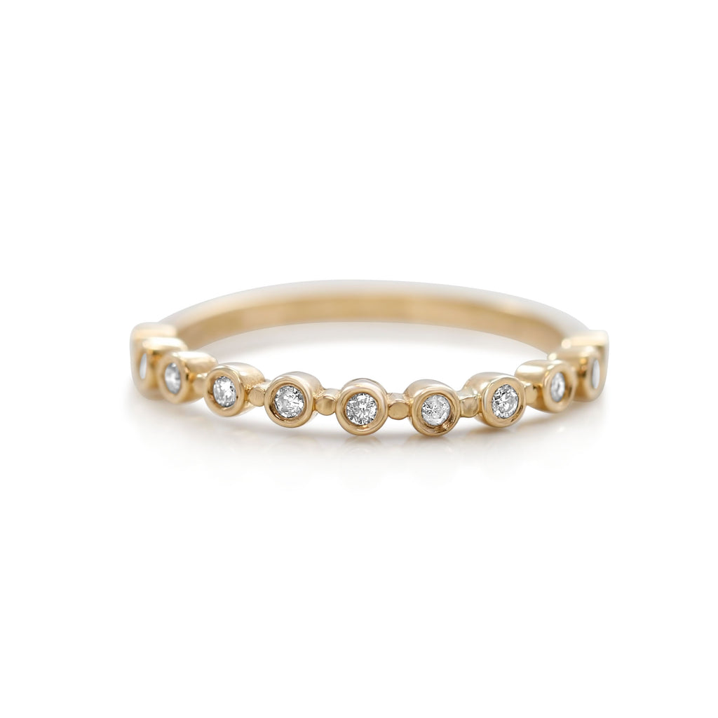 YELLOW GOLD AND DIAMOND STACK RING