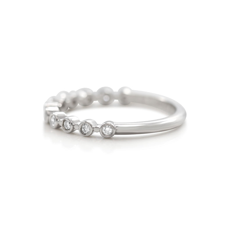 WHITE GOLD AND DIAMOND STACK RING