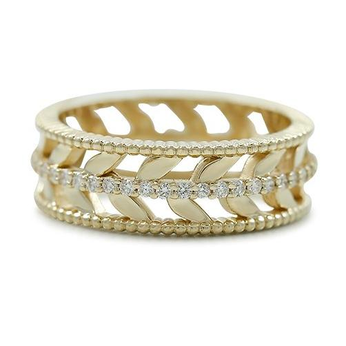 chunky yellow gold leaf stack ring can be made with or without diamonds in yellow rose or white gold