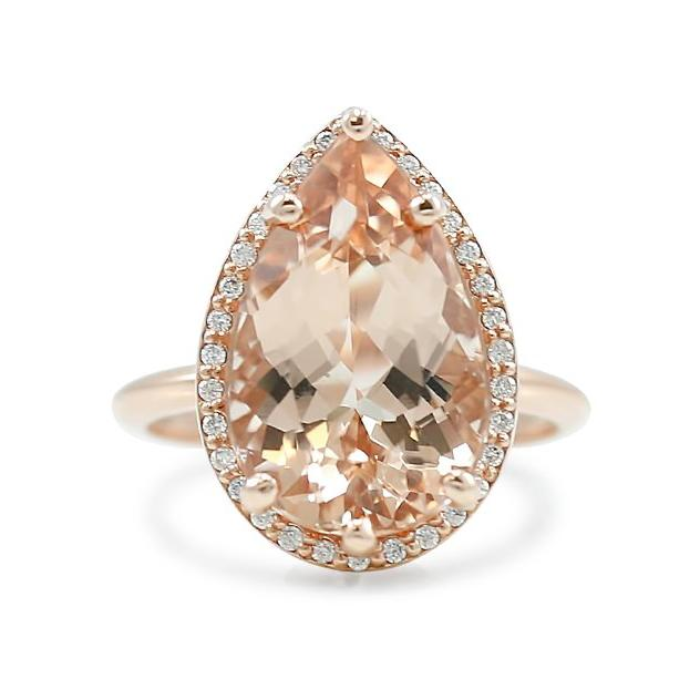 pear shaped morganite ring with diamond halo and rose gold band